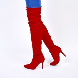 Shoes - Red Thigh High Slouch Boots